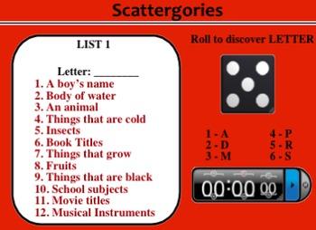 Scattegories for the Smartboard