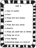Scattegories lists for children