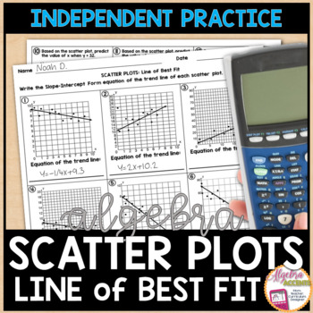 Scatter Plot and Line of Best Fit Practice Worksheet