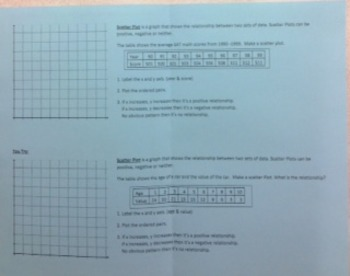 Scatter Plots Foldable