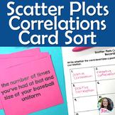 Scatter Plots Correlation/ Association Card Sort Activity