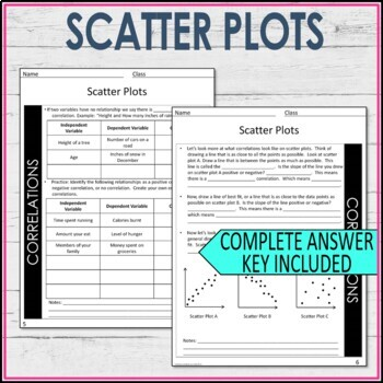 Scatter Plots Guided Notes - Scatter Plots Notes
