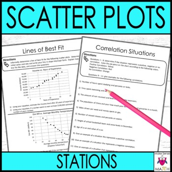 Scatter Plots Math Stations  :  Middle School Math Stations