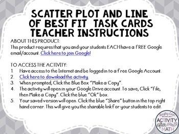 Scatter Plots and Line of Best Fit Task Cards with QR Codes GOOGLE Slide Version