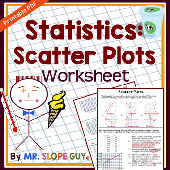 scatter plots pdf worksheet scatterplots statistics by mr slope guy - Scatter Plot Worksheet