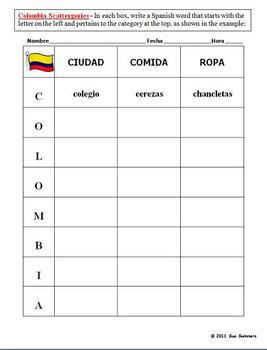Scattergories Colombia Food Clothing City - Spanish Speaking Countries