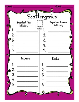 picture regarding Scattergories Answer Sheets Printable called Scattergories: Artistic Phrase Effort and hard work Sport for Young children