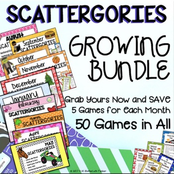 Scattergories GROWING BUNDLE! 12 Months of Games!