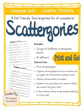 Free Scattergories Game