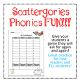 Scattergories Word Family Game ~ Phonics, Spelling, Word Study ~ Grades 1-6, ESL