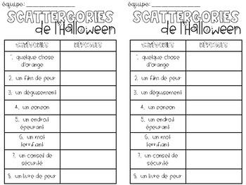 Scattergories de l'Halloween