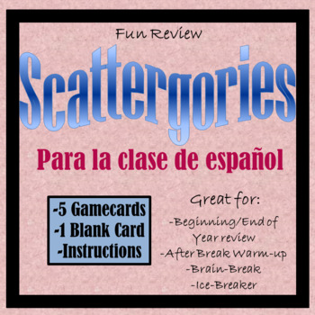 Scattergories for Spanish Class - Great Vocabulary Review