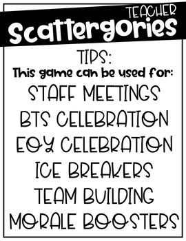 Scattergories for Teachers! Back to School, Staff Meeting, Ice Breaker  Activity