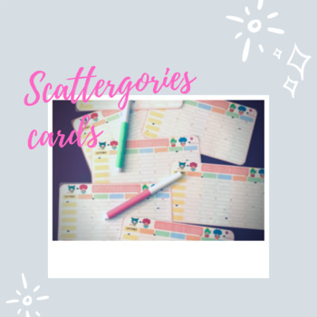 Scattergories game cards
