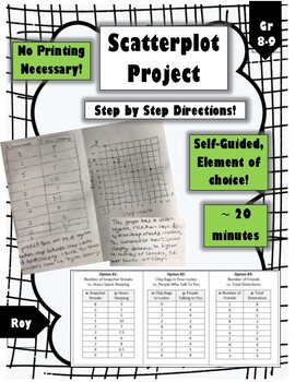 Scatterplots Project: Self-Guided, 3 Relevant Options (No Printing Needed!)