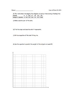 Scatterplots and Line of Best Fit Worksheet