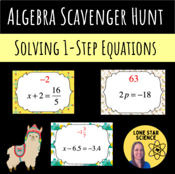 Scavenger Hunt: 1 Step Equations with Integers, Fractions, and Decimals