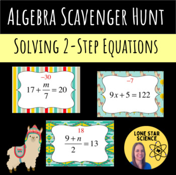Scavenger Hunt: 2 Step Equations with Integers, Fractions, and Decimals