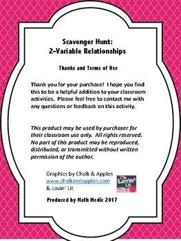 Scavenger Hunt:  2-Variable Relationships