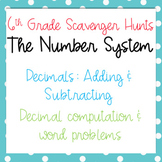 Scavenger Hunt: Add & Subtract Decimals - Computation and