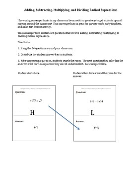 Scavenger Hunt:  Adding, Subtracting, Multiplying, and Dividing Radicals