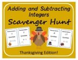 Scavenger Hunt: Adding and Subtracting Integers - Thanksgi
