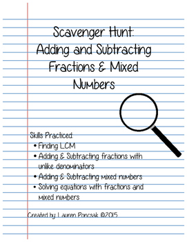 Scavenger Hunt: Adding and Subtracting Mixed Numbers