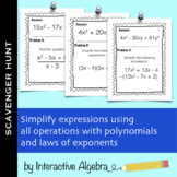 Scavenger Hunt: All Operations with Polynomials and Laws of Exponents Activity