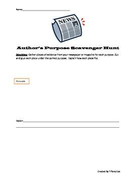 Scavenger Hunt: Author's Purpose