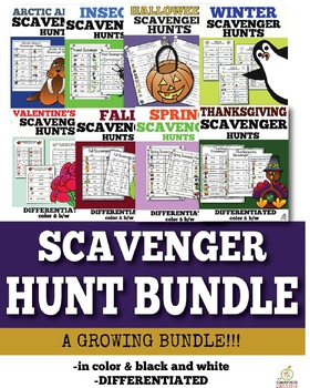 Scavenger Hunts Bundle for the Whole Year!