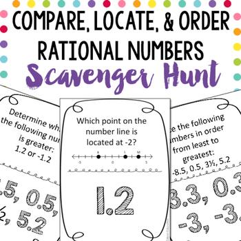 scavenger hunt compare locate order rational numbers. Black Bedroom Furniture Sets. Home Design Ideas