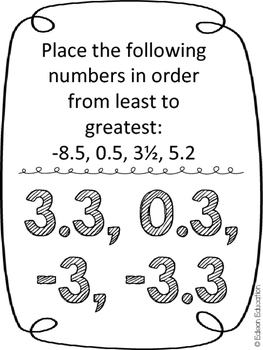 Scavenger Hunt: Compare, Locate, & Order Rational Numbers