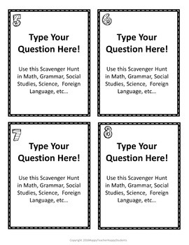 EDITABLE Scavenger Hunt Task Cards: Perfect for all Subjects All Year Long!