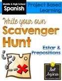 Spanish Scavenger Hunt Project - Estar, Prepositions