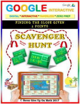 Scavenger Hunt: Find Slope from 2 Points (Google Interactive & Hard Copy)