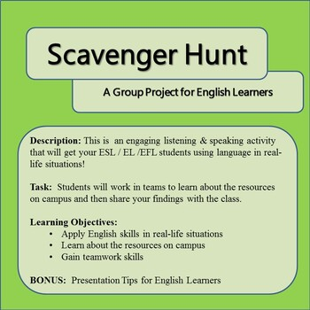 Group Activity for English Learners: College Campus Scavenger Hunt