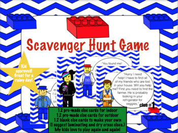 Scavenger Hunt: Building Block Clues (like legos)