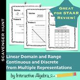 Scavenger Hunt Linear Domain & Range from Multiple Representations STAAR Review