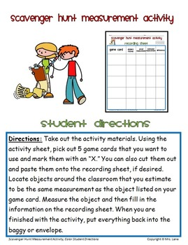 scavenger hunt measurement by mrs lane teachers pay teachers. Black Bedroom Furniture Sets. Home Design Ideas