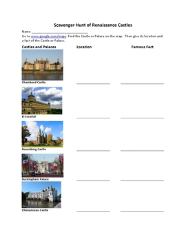 Scavenger Hunt  Of Renaissance Castles and Cathedrals using Google Maps
