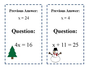 Scavenger Hunt: One-Step Equations - Winter Edition!