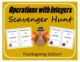 Scavenger Hunt: Operations with Integers - Thanksgiving Edition!