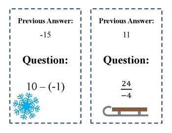 Scavenger Hunt: Operations with Integers - Winter Edition!