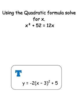 Scavenger Hunt Quadratic Functions