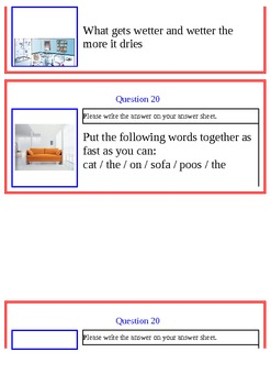 Scavenger Hunt Question Cards- English ESL Activity for Students