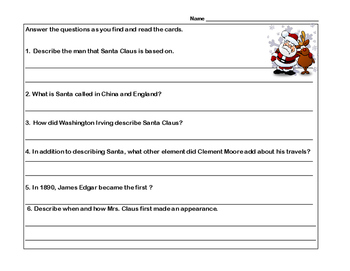 Fascinating Facts About Santa Claus-Reading Comprehension-Scavenger Hunt
