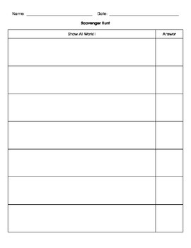 Scavenger Hunt Recording Sheet (blank)