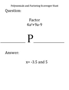 Scavenger Hunt:  Review Factoring and Solving Polynomials