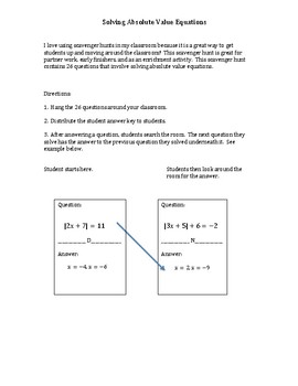 Scavenger Hunt:  Review Solving Absolute Value Equations