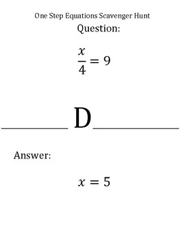 Scavenger Hunt:  Review Solving One Step Equations
